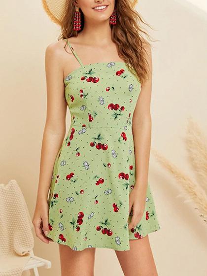 Green Cherry And Floral Print Cami Mini Dress