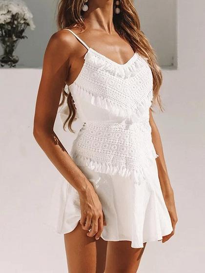 White V-neck Tassel Trim Open Back Cami Mini Dress