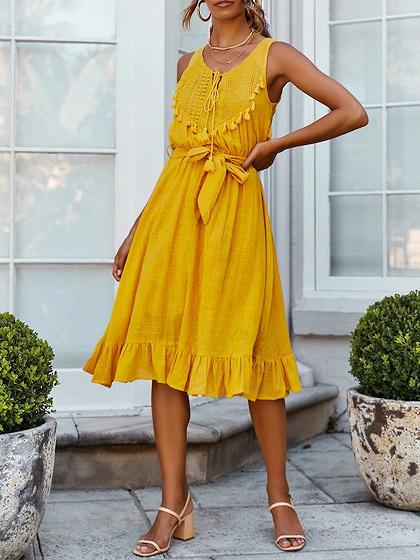 Yellow V-neck Tie Waist Ruffle Hem Sleeveless Midi Dress
