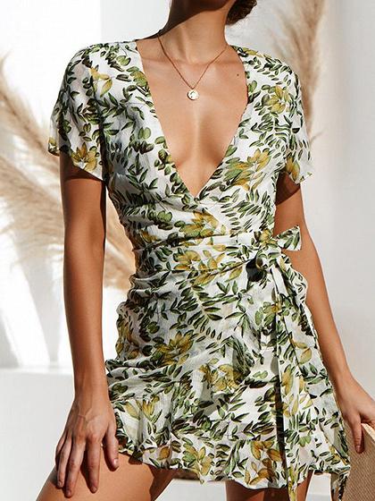 White Plunge Floral Print Ruffle Hem Mini Dress