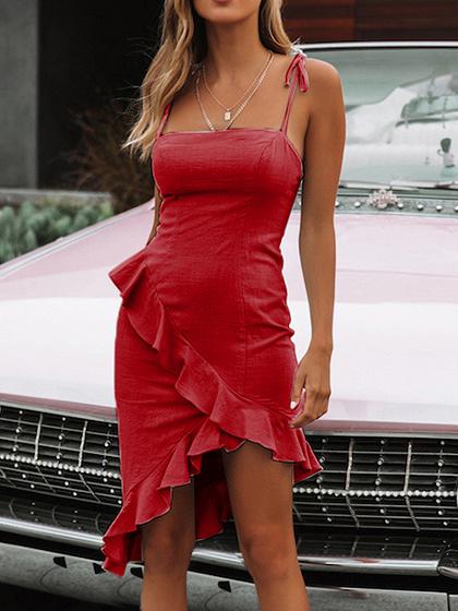Red Ruffle Trim Asymmetric Hem Bodycon Cami Dress