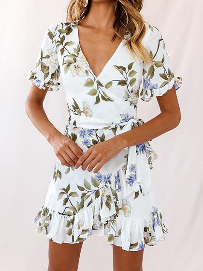 White V-neck Floral Print Ruffle Trim Mini Dress
