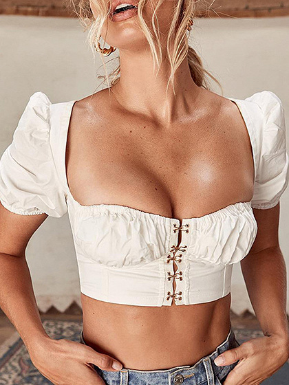White Square Neck Button Placket Front Puff Sleeve Crop Top