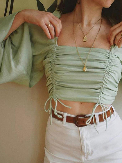 Light Green Square Neck Puff Sleeve Crop Blouse
