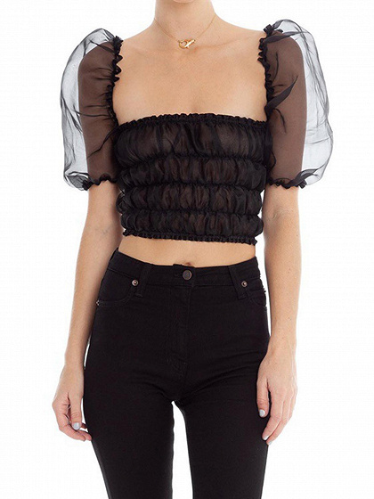 Black Square Neck Puff Sleeve Sheer Mesh Crop Top
