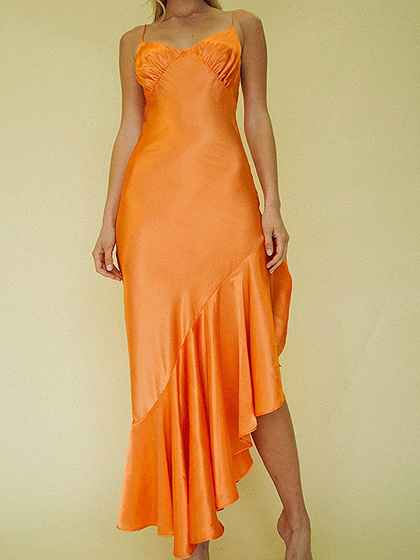 Orange Satin Look V-neck Fishtail Hem Bodycon Cami Dress