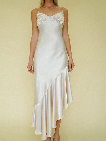 Khaki Satin Look V-neck Fishtail Hem Bodycon Cami Dress