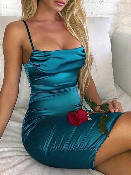 Blue Satin Look Bodycon Cami Mini Dress