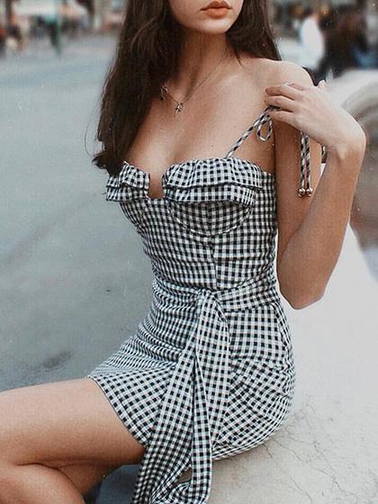 Black Plaid Tie Waist Cami Mini Dress