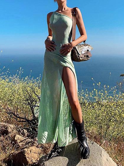 Green Asymmetric Neck Thigh Split Front Maxi Dress