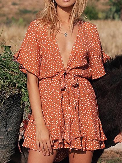 Orange Plunge Polka Dot Print Ruffle Sleeve Mini Dress