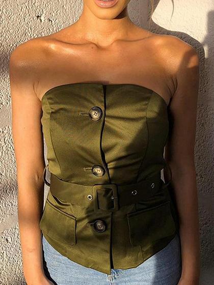 Green Bandeau Button Placket Front Crop Top