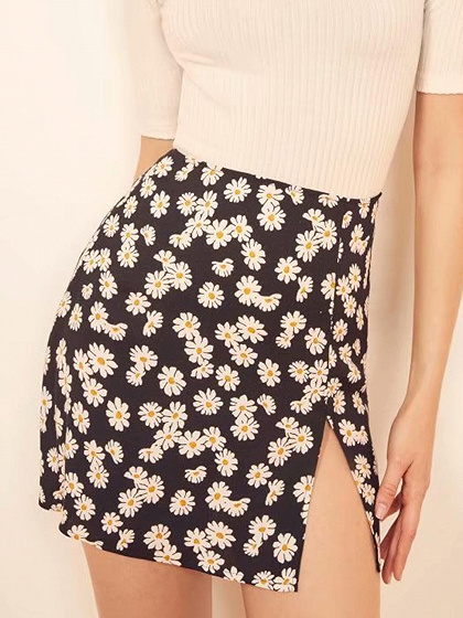 Black High Waist Daisy Print Split Side Mini Skirt