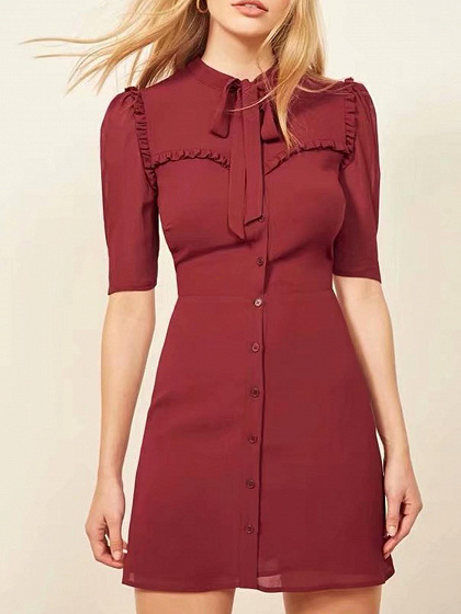 Red Button Placket Front Tie Waist Mini Dress