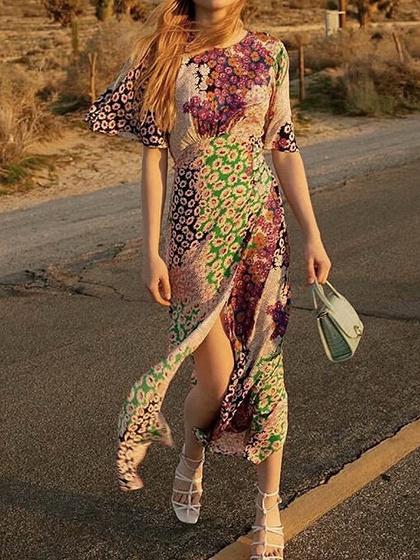 Robe longue à dos ouvert et imprimé floral polychrome