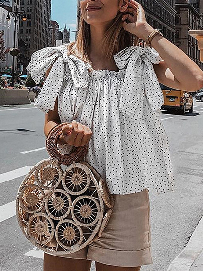 White Chiffon Polka Dot Print Sleeveless Blouse