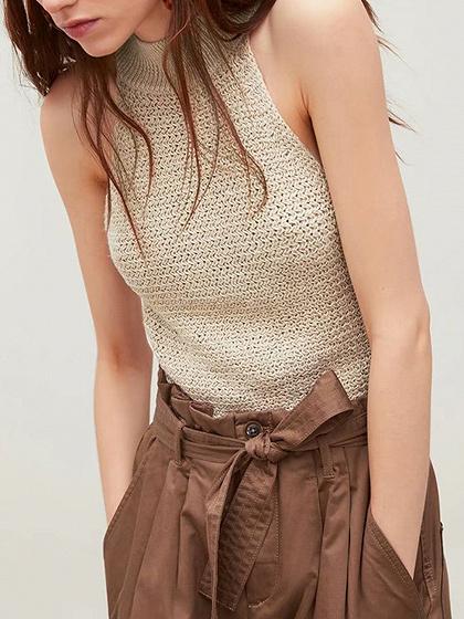 Beige Sleeveless Knit Tank Top