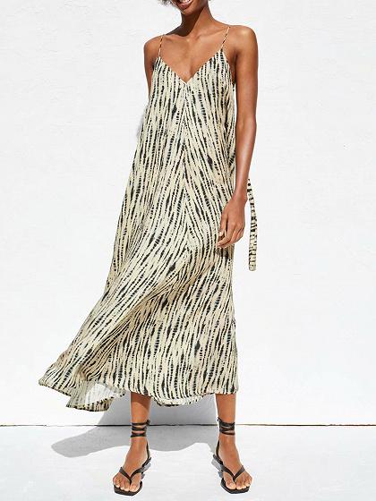 Light Yellow Stripe V-neck Cami Maxi Dress