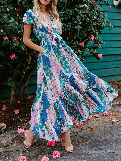 Polychrome Plunge Floral Print Tie Front Ruffle Sleeve Maxi Dress