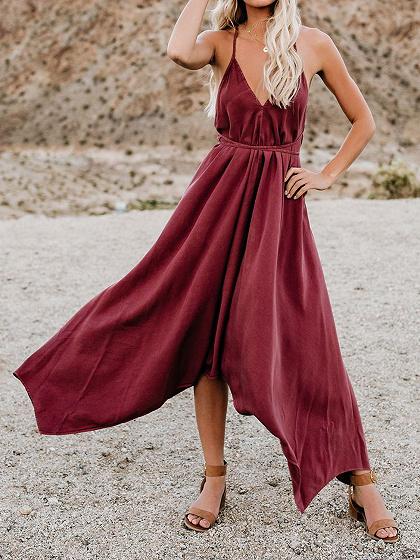 Burgundy V-neck Open Back Cami Maxi Dress