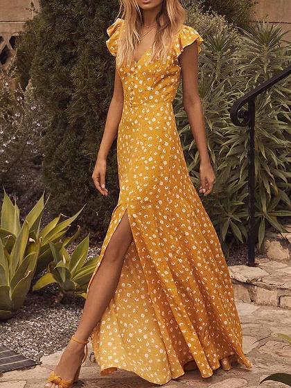 Yellow V-neck Floral Print Open Back Ruffle Sleeve Maxi Dress