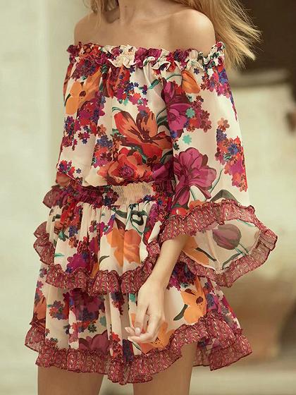 Red Off Shoulder Floral Print Ruffle Trim Mini Dress