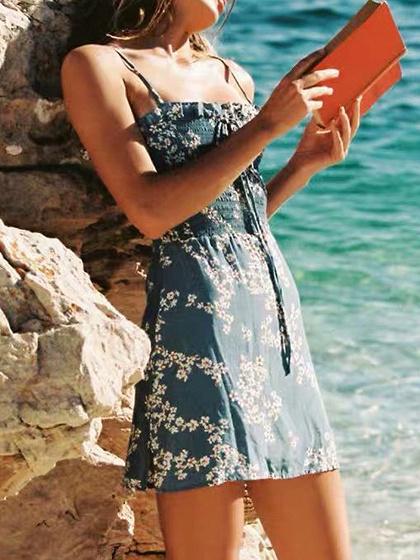 Light Blue Floral Print Ruffle Trim Cami Mini Dress