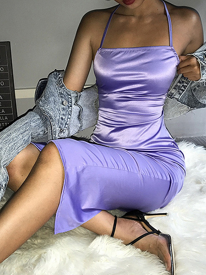 Light Purple Lace Up Back Bodycon Cami Dress