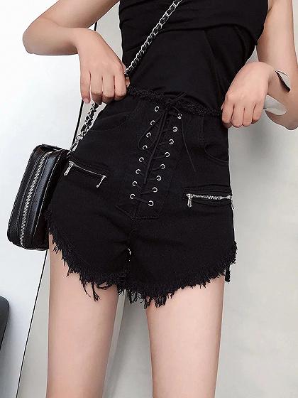 Black High Waist Eyelet Lace Up Front Fur Trim Shorts