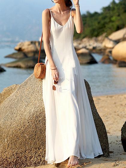 White V-neck Open Back Cami Maxi Dress