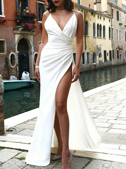 White V-neck Thigh Split Side Open Back Cami Maxi Dress