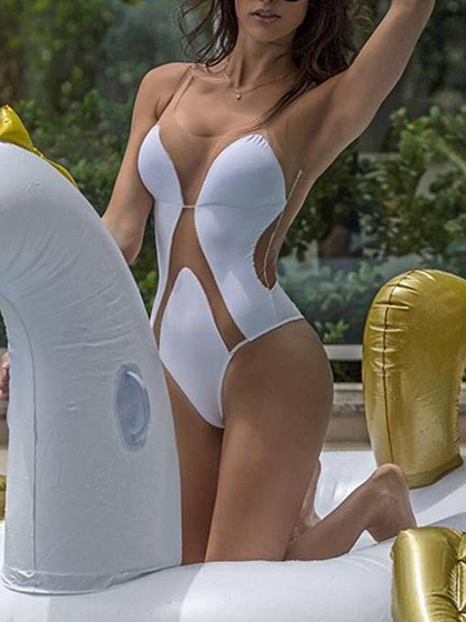 White Sheer Panel One-piece Swimsuit