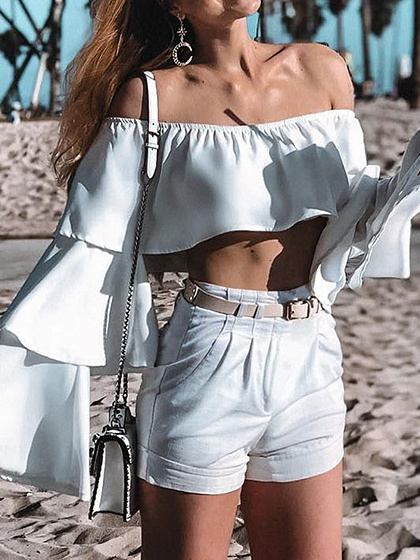White Off Shoulder Ruffle Trim Flare Sleeve Crop Top