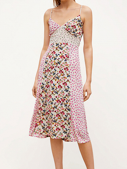 Polychrome V-neck Floral Print Cami Midi Dress