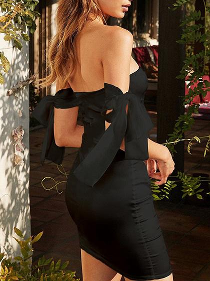 Black Satin Look Bodycon Mini Dress