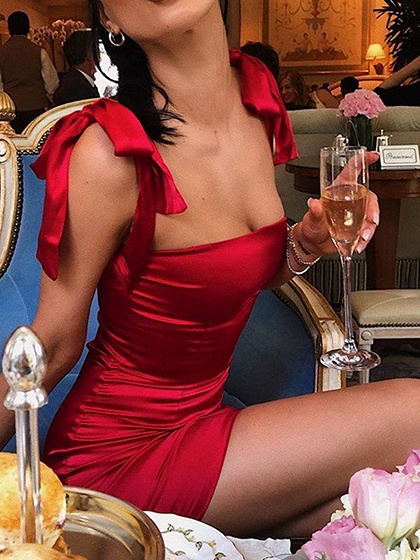 Red Satin Look Bodycon Mini Dress