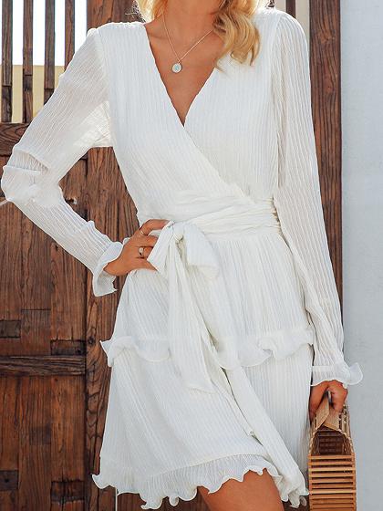 White Chiffon V-neck Ruffle Trim Flare Sleeve Mini Dress