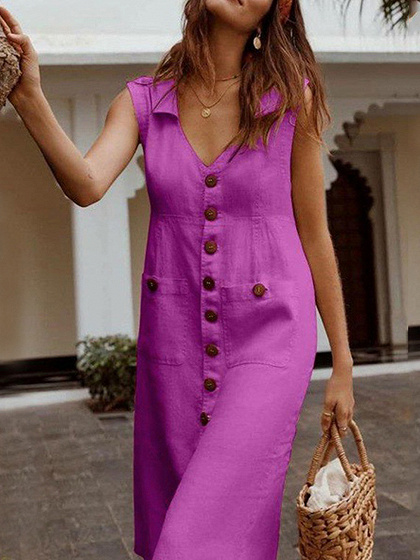 Hot Pink V-neck Button Placket Front Sleeveless Midi Dress