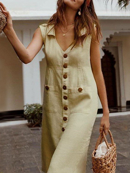 Khaki V-neck Button Placket Front Sleeveless Midi Dress