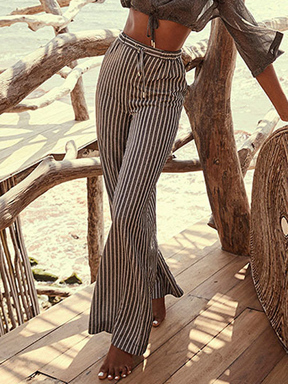 Gray Stripe High Waist Wide Leg Pants