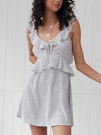 White V-neck Polka Dot Print Ruffle Trim Sleeveless Mini Dress
