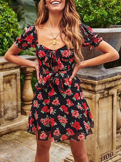 Red Chiffon Floral Print Ruffle Trim Mini Dress