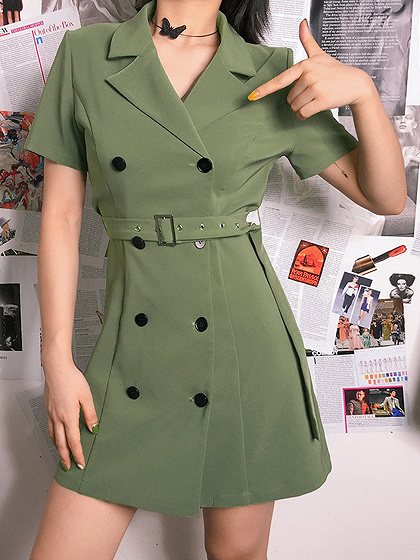 Green Lapel V-neck Double-breasted Button Placket Front Mini Dress