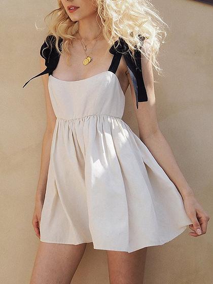 Khaki Open Back Cami Mini Dress