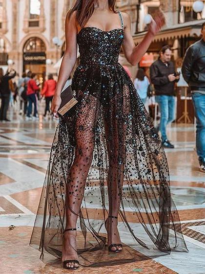 Black Sequin Embellished Open Back Cami Maxi Dress