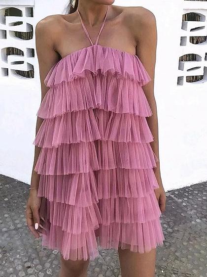 Pink Halter Layered Ruffle Trim Mesh Mini Dress