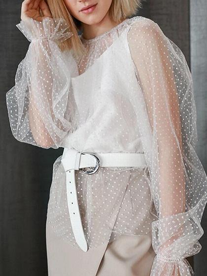 White Polka Dot Print Puff Sleeve Sheer Mesh Blouse