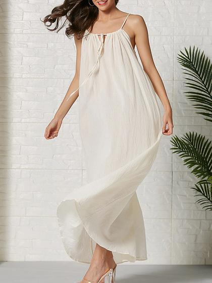 Beige Drawstring Detail Cami Maxi Dress