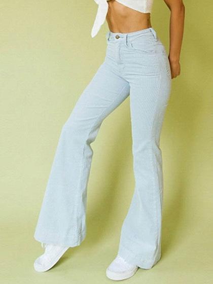 Blue Corduroy High Waist Wide Leg Pants