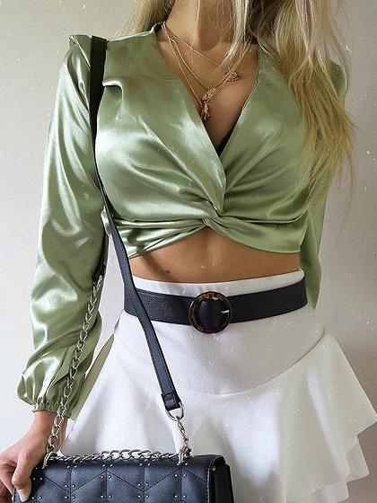 Green Satin Look Plunge Long Sleeve Crop Blouse